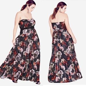 City Chic Holiday Rose Pleated Jeweled Dress 16